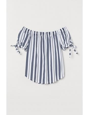 Блуза H&M S, бело темно синяя полоска (60960)