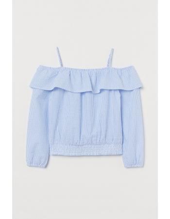 Блуза H&M 146см, голубой белая полоска (48467)