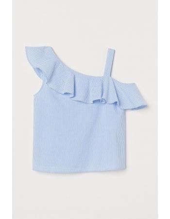Блуза H&M 146см, белый голубая полоска (55063)