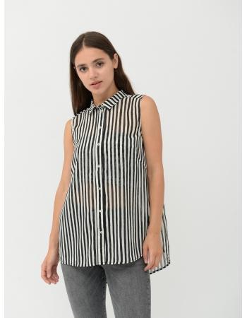Блуза H&M 34, бело черный полоска (41017)