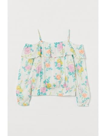 Блуза H&M 146см, белый цветы (54009)