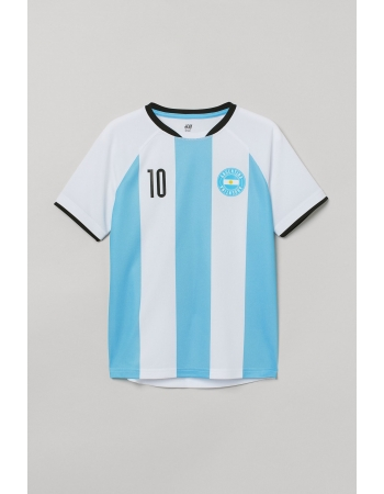 Спортивная футболка H&M 122 128см, белый голубая полоска (56750)