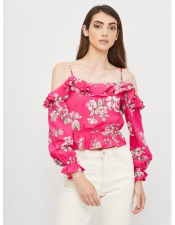 Блуза H&M 32, малиновый цветы (55497)