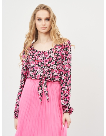 Блуза H&M 32, черно розовый цветы (53348)