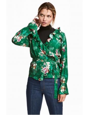 Блуза H&M 40, зеленый цветы (38374)