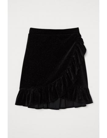 Юбка H&M XS, черный блеск (48776)