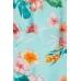 Блуза H&M 140см, бирюзовый цветы (53359)