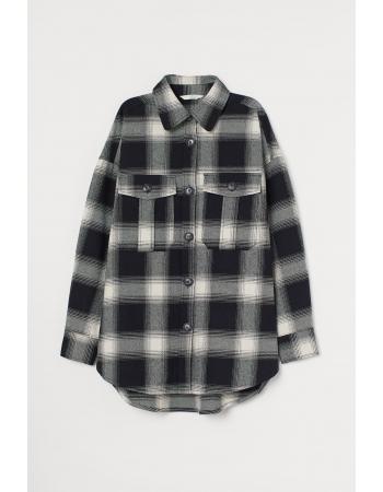 Рубашка H&M L, бело черный клетка (61799)