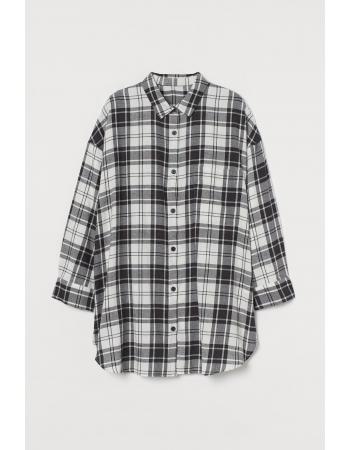 Рубашка для сна H&M L, бело черный клетка (61815)